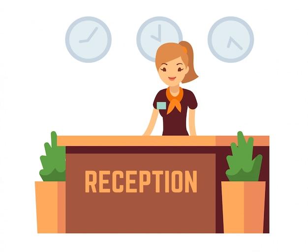 Ricezione dell'ufficio o dell'hotel della banca con l'illustrazione sorridente di vettore della donna del receptionist