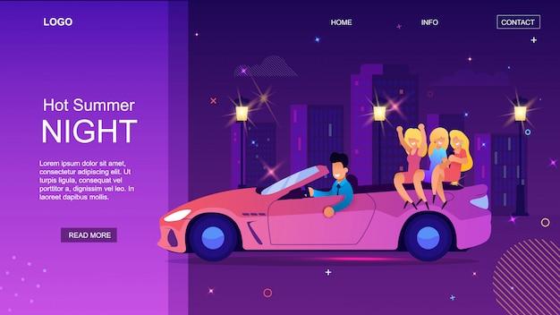 Rich cartoon man drive cabriolet con pagina di destinazione happy woman