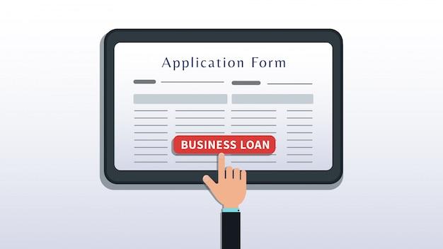 Richiedi il prestito per le piccole imprese, il modulo di domanda sullo schermo del tablet o dello smartphone con il pulsante di scatto a mano isolato su bianco