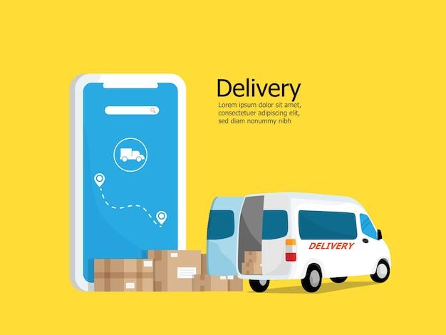 Richiesta di consegna online con scatola pacchi e furgone