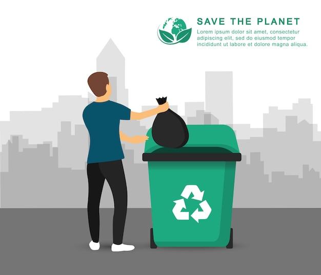Riciclaggio dell'immondizia. un uomo getta la spazzatura in un bidone della spazzatura. poster salva il pianeta.