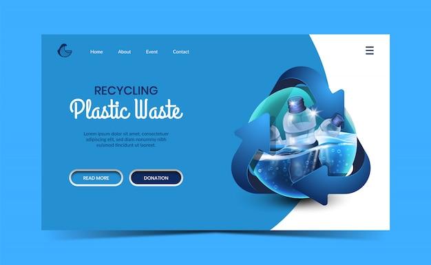 Riciclaggio della pagina di destinazione dei rifiuti in plastica