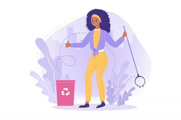 Riciclaggio, volontariato, ecologia, concetto di ambiente
