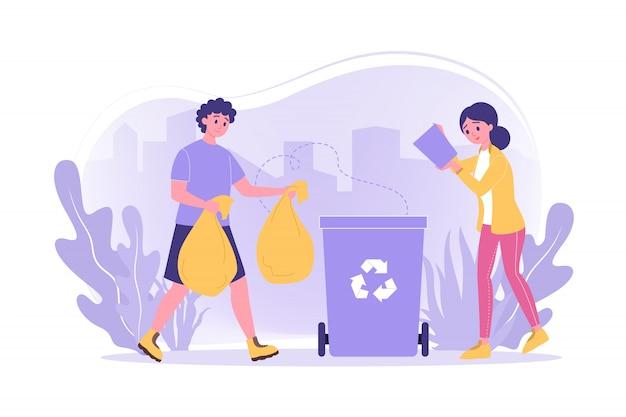 Riciclaggio, volontariato, ecologia, concetto di lavoro