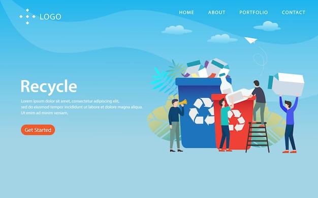 Riciclare, modello di sito web, a più livelli, facile da modificare e personalizzare, concetto di illustrazione