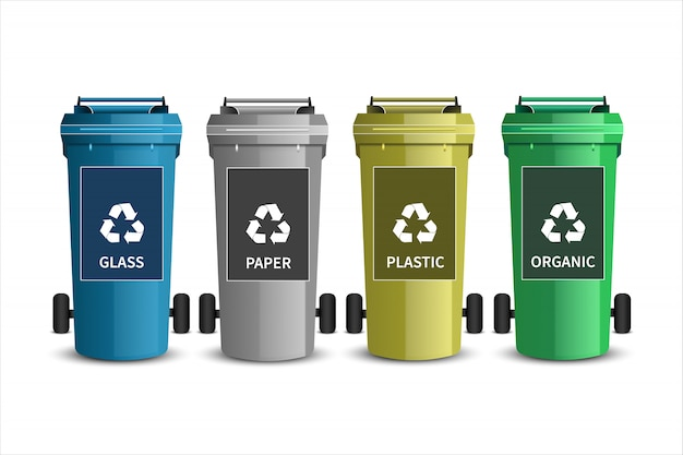 Ricicli i contenitori. bidoni della spazzatura in plastica
