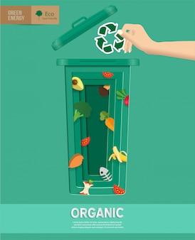 Ricicli i recipienti della spazzatura infographic nel taglio della carta