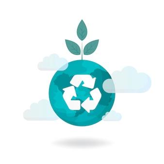 Ricicli il vettore di conservazione dell'ambiente di simbolo