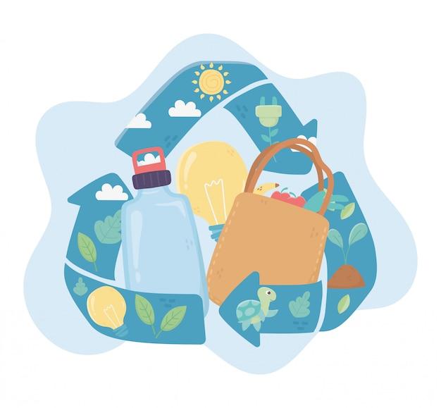 Ricicli l'ecologia dell'ambiente della bottiglia della borsa della spesa e della lampadina