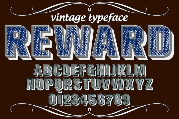 Ricompensa di disegno di carattere tipografia retrò carattere tipografico di alfabeto