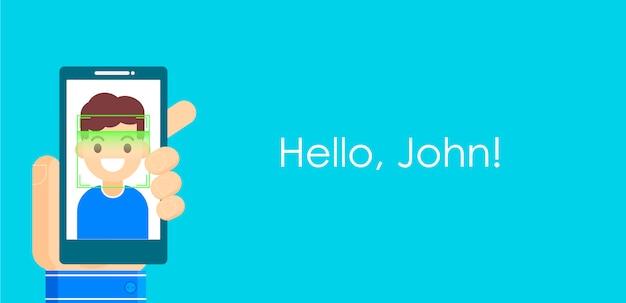 Riconoscimento dei volti e identificazione mobile. youngman che sblocca il suo smartphone o app.