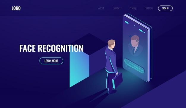 Riconoscimento facciale, icona isometrica, sguardo dell'uomo nella fotocamera del telefono, tecnologia biometrica