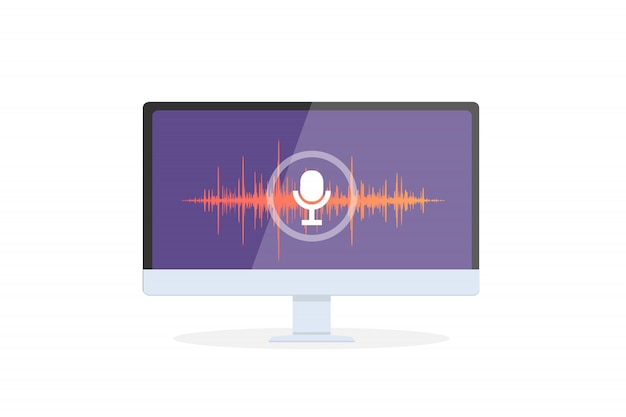 Riconoscimento vocale assistente personale su app mobile. illustrazione di concetto del dispositivo con l'icona del microfono sullo schermo e linee d'imitazione voce e suono.
