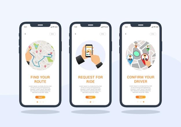 Ride sharing set di app di progettazione dell'interfaccia utente mobile con schermo integrato