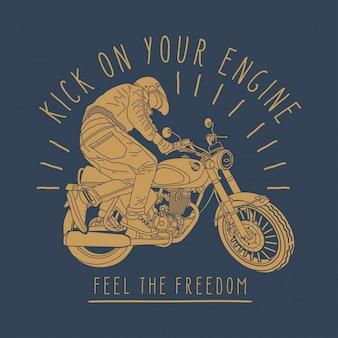 Rider kicker engine motorcycle illustration