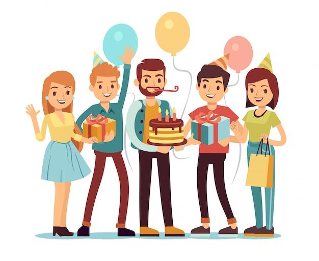 Ridere e sorridere le persone con regali e torta. concetto di vettore di buon compleanno