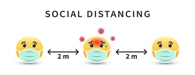 Riduzione dei contatti. maschera con emoji. mantenere la distanza di 2 metri.