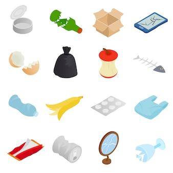 Rifiuti e rifiuti per il riciclaggio di icone impostate