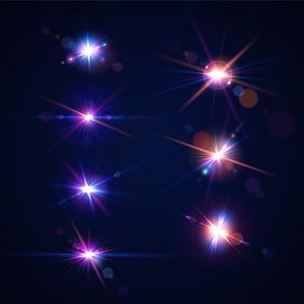 Riflessi di lenti incandescenti. insieme di effetti di abbagliamento con bokeh, particelle di glitter e raggi.