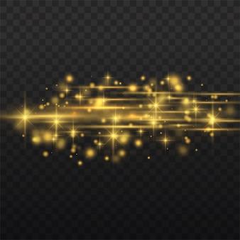 Riflessi di lenti orizzontali giallo flash, raggi laser, raggi di luce orizzontali
