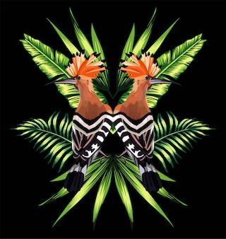 Riflessione a specchio delle foglie tropicali e dell'upupa