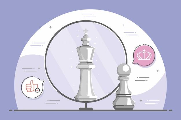 Riflessione di scacchi in un concetto di specchio
