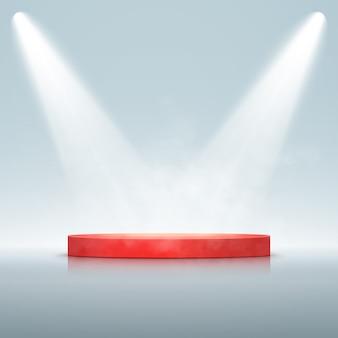 Riflettore con podio isolato. effetto di luce incandescente vettoriale con raggi