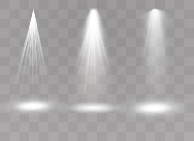 Riflettore. effetto luce effetto luce trasparente bianco isolato bagliore. disegno astratto dell'elemento di effetto speciale.