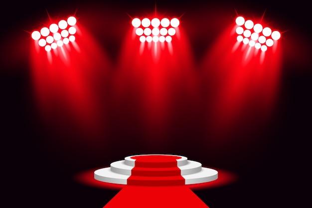 Riflettore rosso del podio della luce della fase con tappeto rosso
