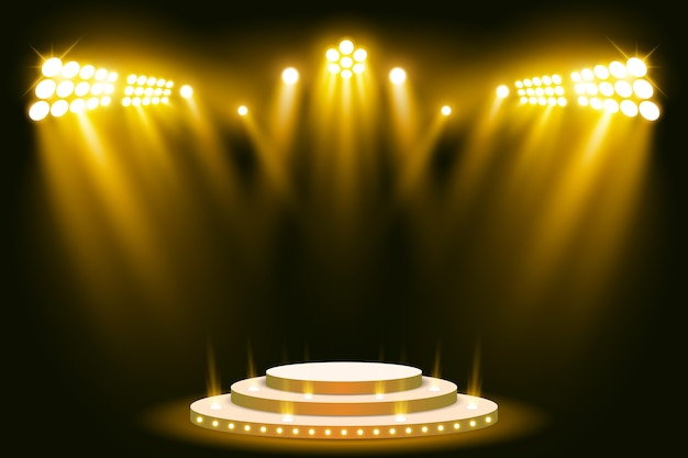 Riflettore scena scena podio illuminato