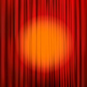 Riflettori puntati su un sipario rosso. illustrazione sullo sfondo