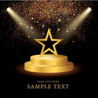 Riflettori puntati sul palco con gold star e glitter vector