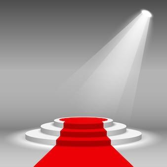Riflettori scena scena podio illuminato con tappeto rosso