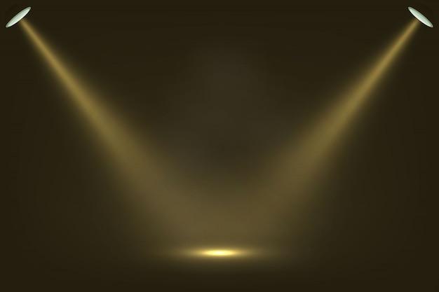Riflettori su sfondo scuro del palcoscenico