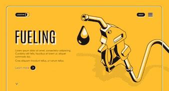 Rifornimento di benzina o diesel banner web isometrica. Ugello del carburante sul tubo e goccioline di gas