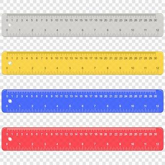 Righello di misurazione di plastica della scuola con centimetri e scala di pollici
