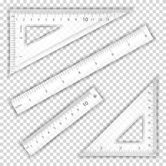 Righello e triangoli trasparenti
