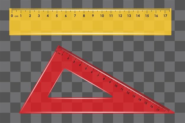 Righello impostare quadrato sul vettore sfondo trasparente