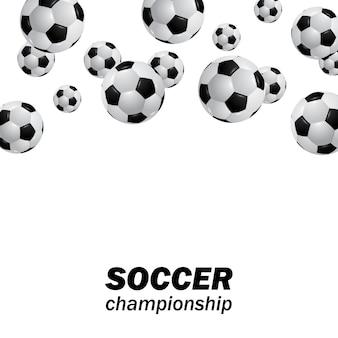Rilasciare la sfera realistica di calcio di calcio che cade dall'alto per il campionato sportivo