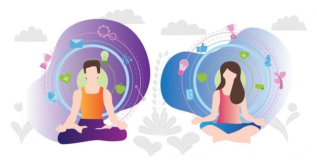 Rilassamento meditating maschile e femminile