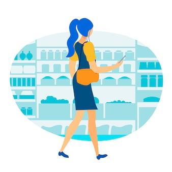 Rilassamento nell'illustrazione piana di vettore del supermercato