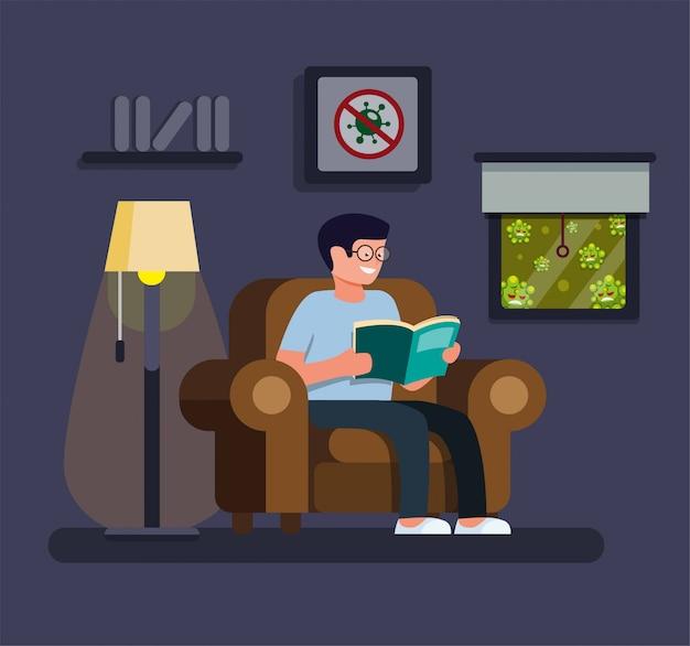 Rilassante libro di lettura uomo in casa, stare a casa e attività di quarantena per la protezione dall'infezione da virus pandemico nel vettore piatto illustrazione fumetto