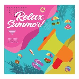 Rilassare la carta delle vacanze estive