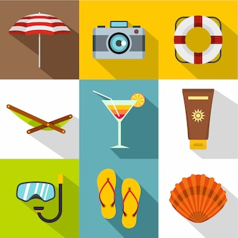 Rilassarsi sul set di icone di spiaggia, stile piano
