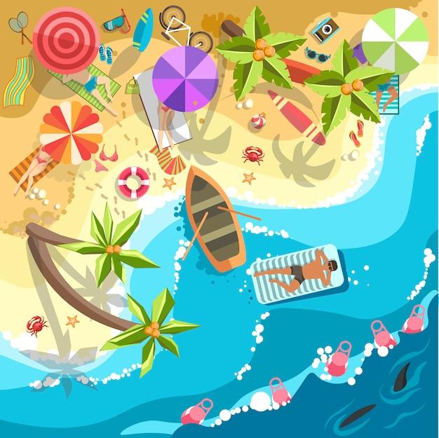 Rilassarsi sulla gente di vettore della spiaggia del mare sulle feste di vacanza del ricorso