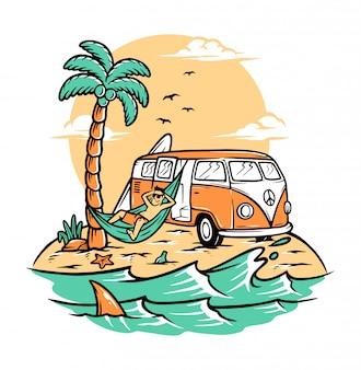 Rilassati sulla spiaggia d'estate