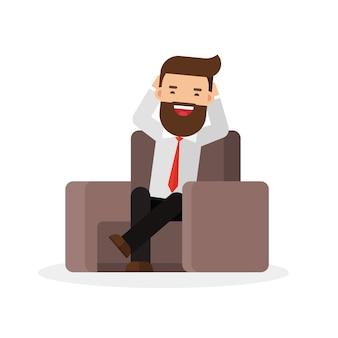 Rilassi l'uomo d'affari sieda su sofar