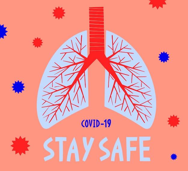 Rimanga sicuro. banner di concetto medico pandemico con polmoni umani. focolaio di coronavirus. sfondo 2019-ncov.