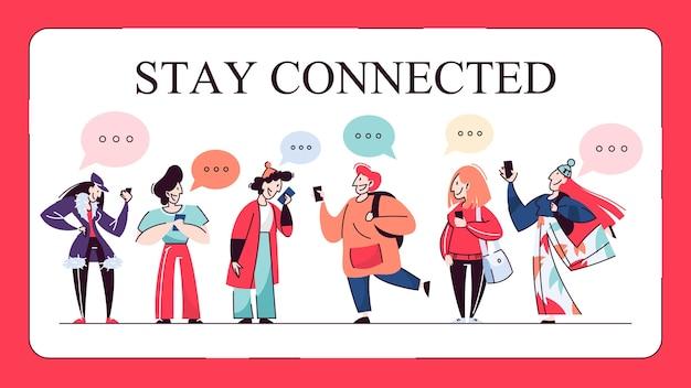 Rimani connesso banner web concept. le persone chattano