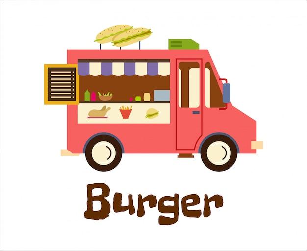 Rimorchio degli alimenti a rapida preparazione con l'hamburger isolato su bianco